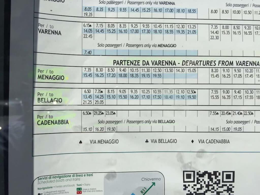 расписание паромов Белладжио - Варенна